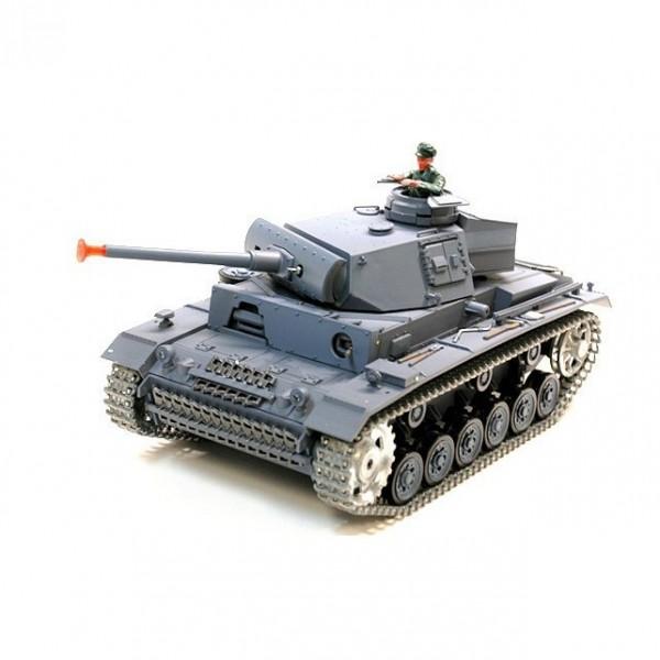 Радиоуправляемая модель танка Heng Long Panzerkampfwagen III 1: 16 с дым. и пневм. пушкой (версия в металле)