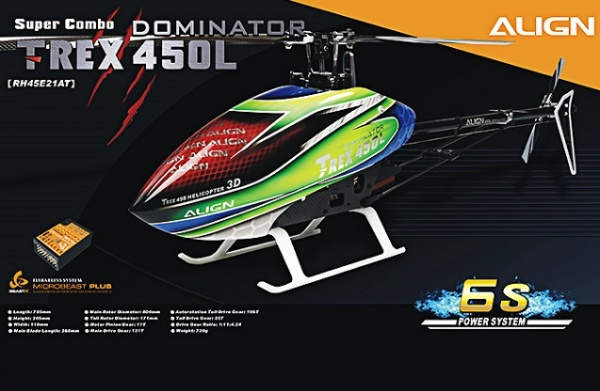 Радиоуправляемый вертолет Align Corporation T-Rex 450L Dominator 6S Super Combo (MicroBeast PLUS), электро, KIT