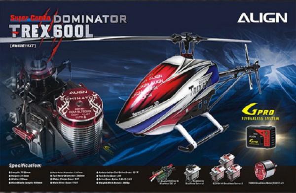 Радиоуправляемый вертолет Align Corporation T-Rex 600L Dominator Super Combo, электро, KIT