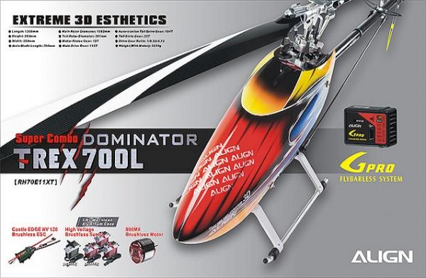 Радиоуправляемый вертолет Align Corporation T-Rex 700L Dominator Super Combo
