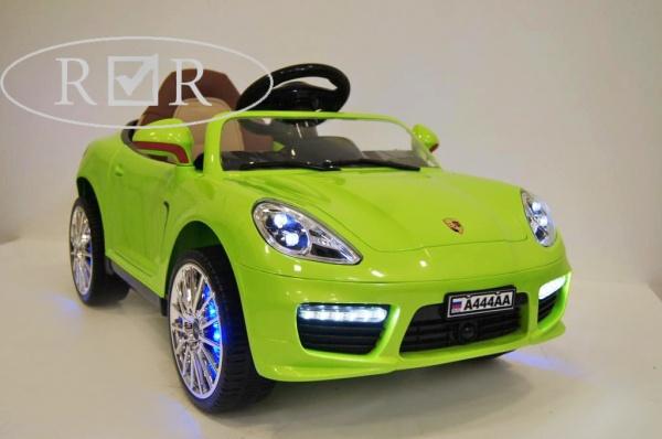 Электромобиль RiverToys Porsche Panamera A444AA (кожа) с дистанционным управлением, зеленый